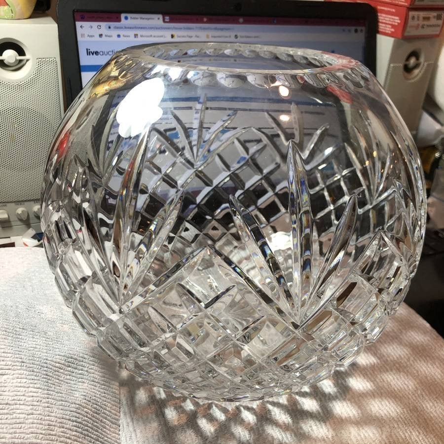 """Vintage Waterford Fish Bowl Leaded Glass 9.5"""" Wide...."""