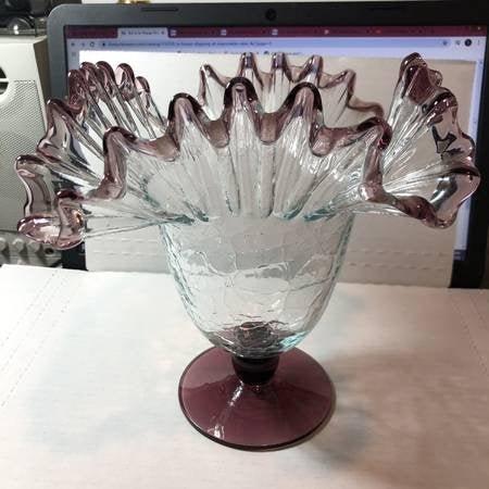 Vintage Crackled Glass Hand Blown Fluted Pedestal Bowl.