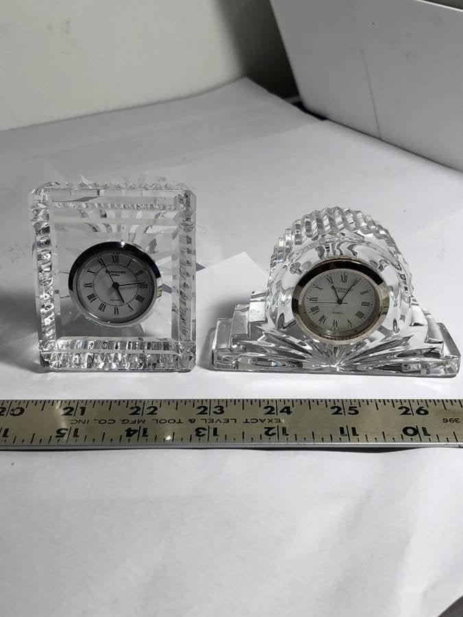 2-Vtg Waterford Crystal End Table Quartz Small Clocks..