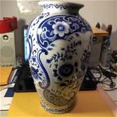 Vintage Asian Style Blue  White Vase Drilled 14 Tall