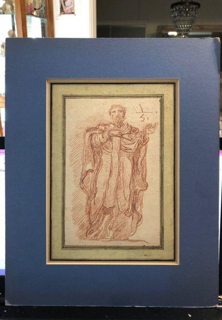 Old Master Fragonard Red Chalk Saint Drawing Sold 1960