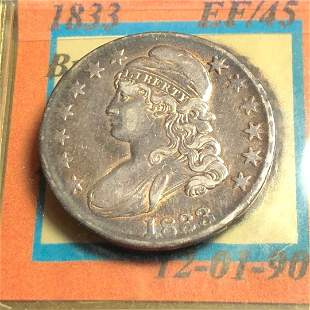 1833 US Capped Bust Half Dollar Early Silver 50c....
