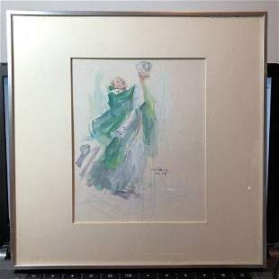 Noted Artist Javier Cabada Priest Watercolor Painting..