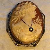 Antique 14K White Gold Framed Shell Cameo Pin/Pendant..