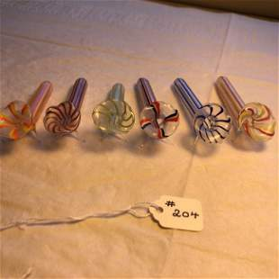 6 Victorian Multi-Color Hand Blown Art Glass Toothpick.