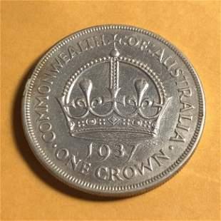 Australia 1937 VF Condition 1-Crown Silver Coin as Pict
