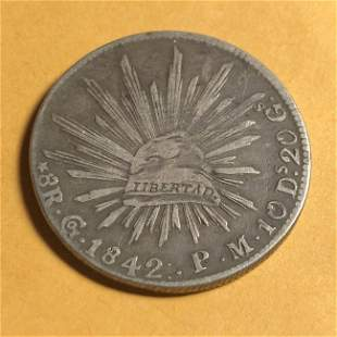 1842 GO/PM 8 Reales Silver Guanajuato Mexico First Rep