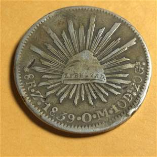 Mexico 8 Reales Zs 1839 O.M. Zacatecas Mint Circulated