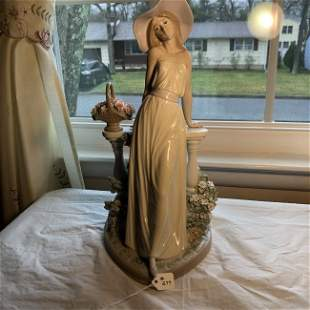 "Vtg Large 14"" Tall LLADRO Figurine Lady with Flowers..."