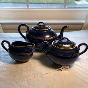 Vintage Willets Belleek Cobalt Blue & Gold Tea Set....