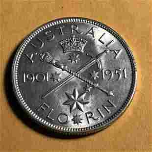 Australia Silver Florin 1951 George V Jubilee, KM #47..