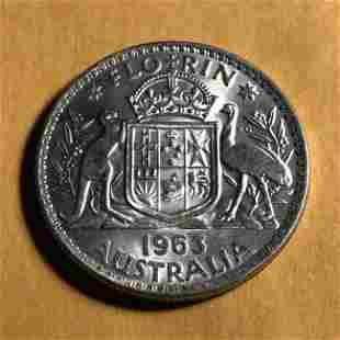 Australia 1963 One Florin CHOICE BU Condition Silver...