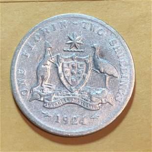 1924 AUSTRALIA UK King George V Kangaroos Old Silver...