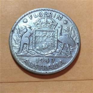 1947 AUSTRALIA King George VI Kangaroos Silver Florin