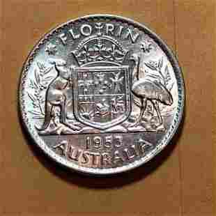 1953 AUSTRALIA Queen Elizabeth 2 SILVER FLORIN Kangaroo