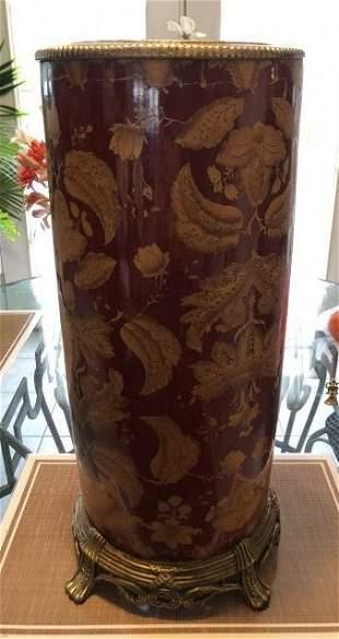 Sarreid Ceramic Large Umbrella Stand w/Base Metal Rim..