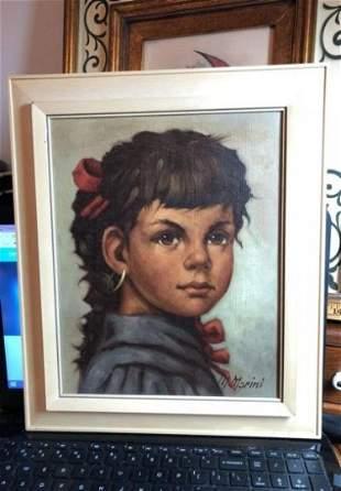 Vintage M. Marini Gypsy Children Series Oil on Canvas..