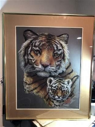 "Noted Artist ""Linda Verhagen"" Charcoal/Pastel Tiger Art"