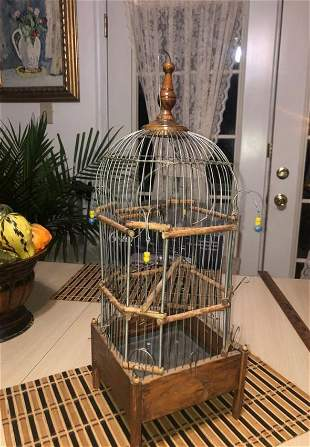 Antique Hand Made Wooden & Metal Unique Bird Cage...