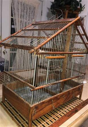 Antique Hand Made Wooden & Metal Bird Cage Preowned...