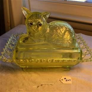Vintage WESTMORELAND Cat Dish Covered Jar Signed...