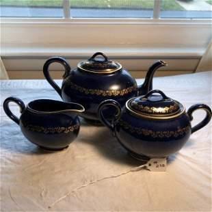 Vintage Willets Belleek Cobalt Blue & Gold Tea Set 3-Pc