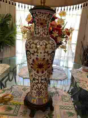 Vintage Chinese Famille Rose Tall Vase Lamp with Shade