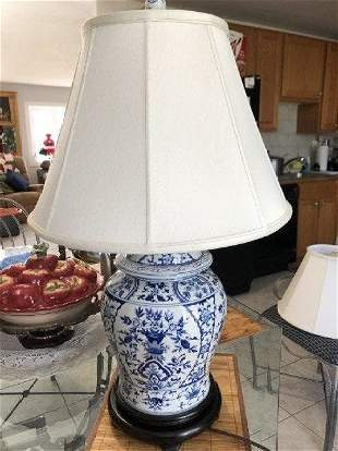 Pair of 2 English Blue & White Porcelain Temple Ginger