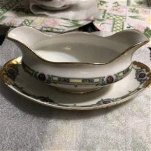 Vintage M. Redon Limoges Gravy Boat w/Attached Plate...