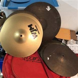 7 Total Used 2-WJM & OTHER Cymbals with a Canvas Carry