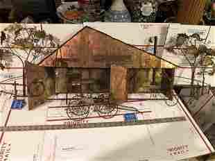 VINTAGE Mid-Century Copper Sheet Metal Barn Artwork 4'.