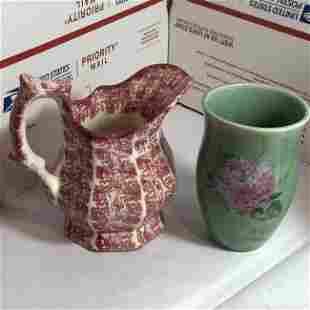 Hudsonware Vt Transferware Creamer Pitcher & CB Vase...