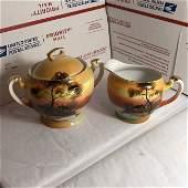Vtg Noritake Hand Painted Creamer Pitcher & Sugar Bowl