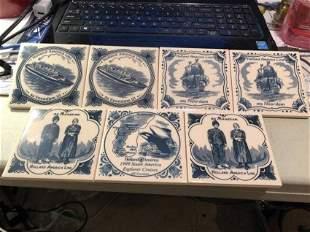 7-Vintage Holland American Lines Ceramic Tile Coasters