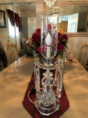 Antique Hurricane Heavy Leaded Crystal Lamp w/Prisms...