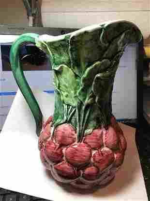 "Vintage VALLEY Ceramics 9"" Tall Majolica BEETS Pitcher"