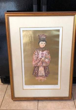 Edna Hibel Signed Artist Proof Foil Lithograph AP...