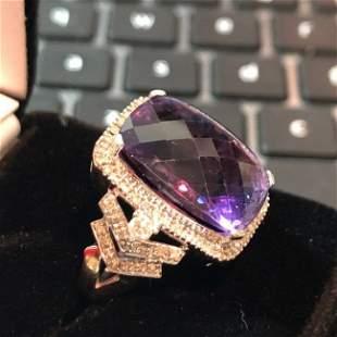 Vtg 14k White Gold Estate Calibre Cut Amethyst/Diamond.