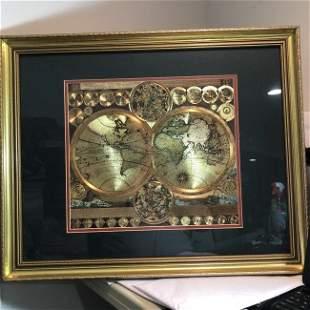 Vtg GOLD FOIL WORLD MAP DOUBLE HEMISPHERE 25x31 Frame..