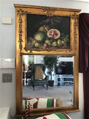 Antique Very Large Beveled Mirror & Oil Painting Frame.