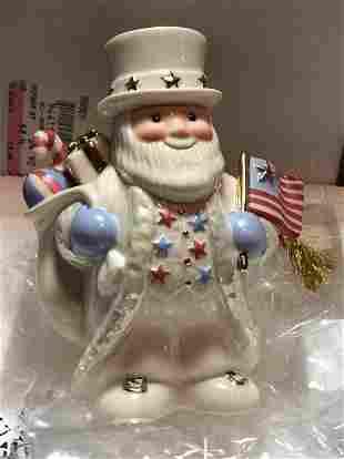 Lenox All American Santa with Flag Tree Ornament 2002..