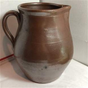 """Vintage Redware Pottery Water Pitcher 8"""" Tall Preowned"""