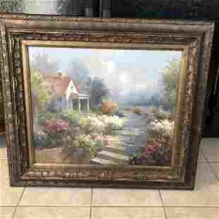"""Noted """"B.HARVEY"""" Oil/Canvas Abstract Landscape Painting"""