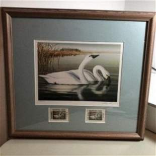 2001 New Jersey Duck Stamp Print W/2 Mint Stamps Artist