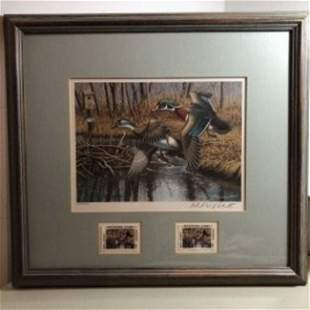 1992 New Jersey Duck Stamp Print W/2 Mint Stamps Artist