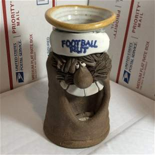 """Football Nut Pottery Mug 7"""" Tall Preowned from a Estate"""