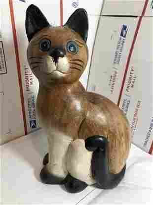 """Vintage Hand Carved Wooden Cat 11"""" Tall Preowned..."""