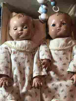 "2-Early Effanbee Patsy Baby Dolls (Twins??) 12"" Tall..."