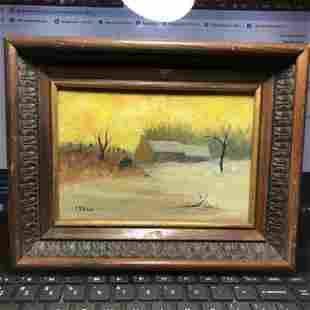 """E. Shinn Signed Folk Art Oil on Canvas Painting 7"""" x 9"""""""