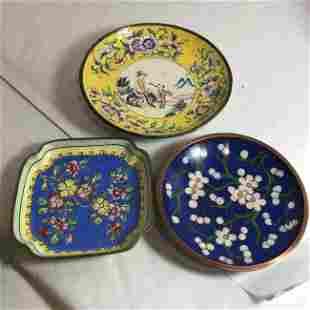3-Vtg/Antique Asian Cloisonné Coaster Dishes Preowned..